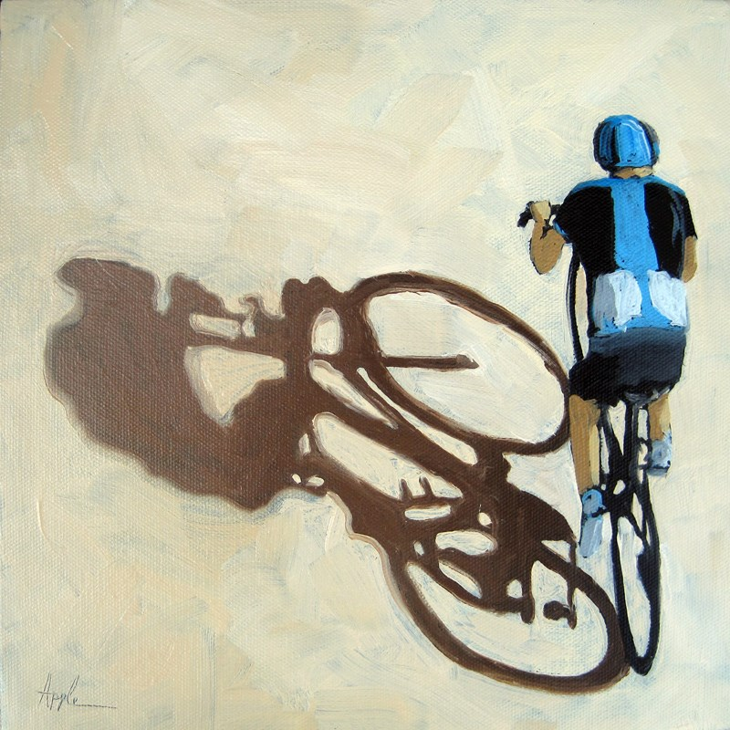 """Single Focus - Tour de France bicycle oil painting"" original fine art by Linda Apple"