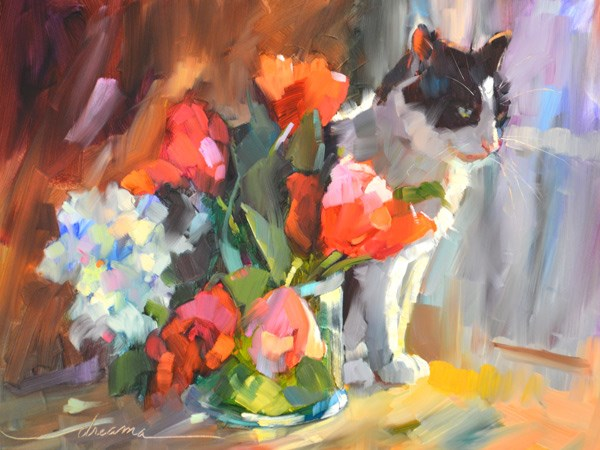 """Furfect Bouquet"" original fine art by Dreama Tolle Perry"