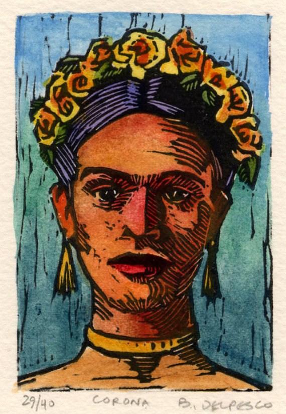 """Linocut: Corona (Frida Kahlo)"" original fine art by Belinda Del Pesco"