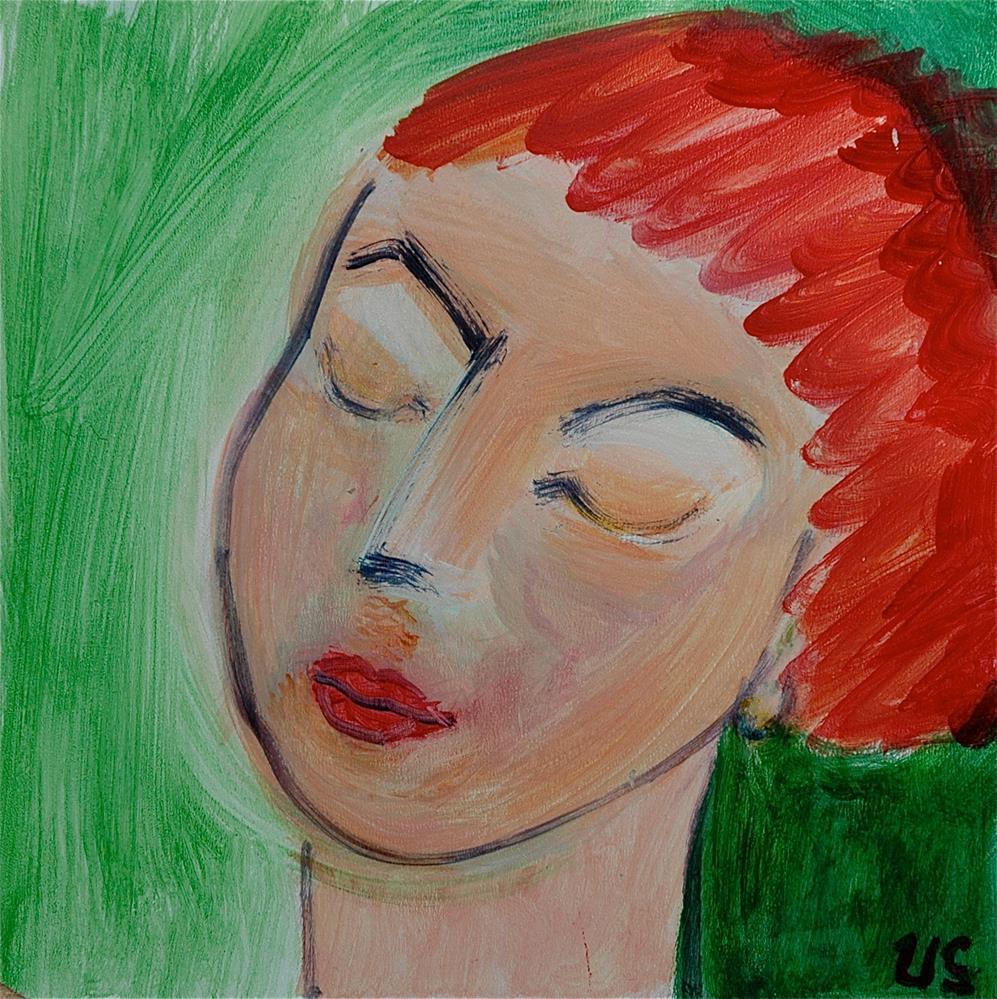 """Face, eye closed, green background"" original fine art by Ulrike Schmidt"