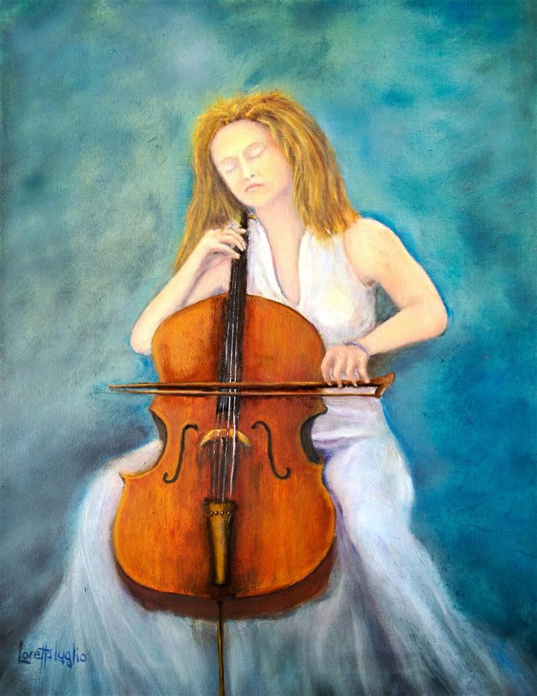 """The Cello Player"" original fine art by Loretta Luglio"