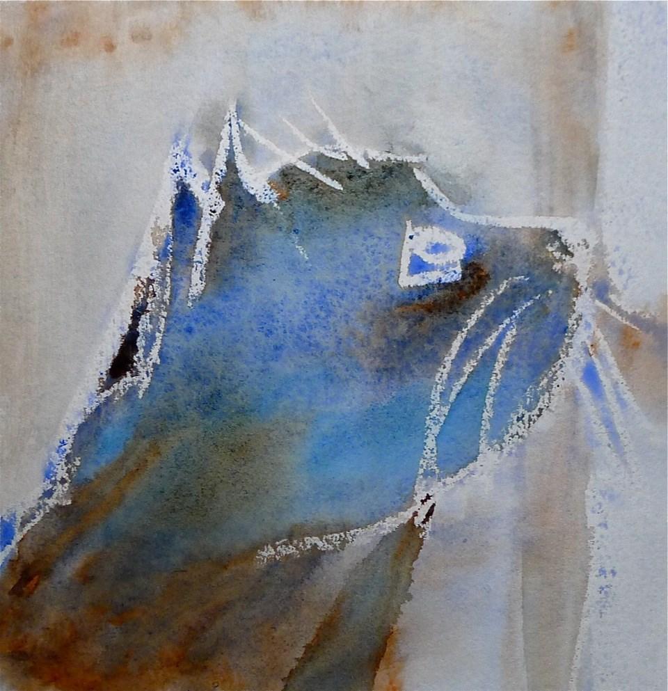 """Blue cat"" original fine art by Ulrike Schmidt"