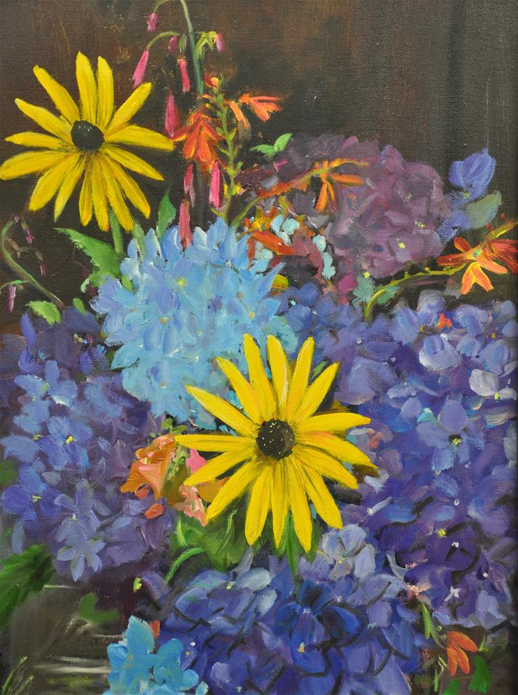 """Black-eyed Susans"" original fine art by Margot Cole"