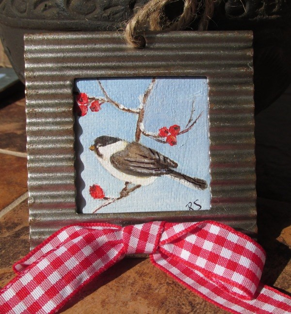"""Chick-a-dee-dee-dee Ornament"" original fine art by Ruth Stewart"