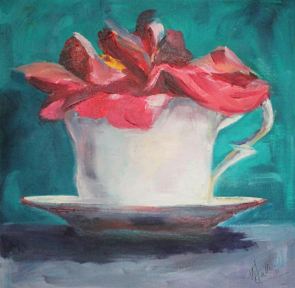 """Tea cup with flower"" original fine art by Monica Callaghan"
