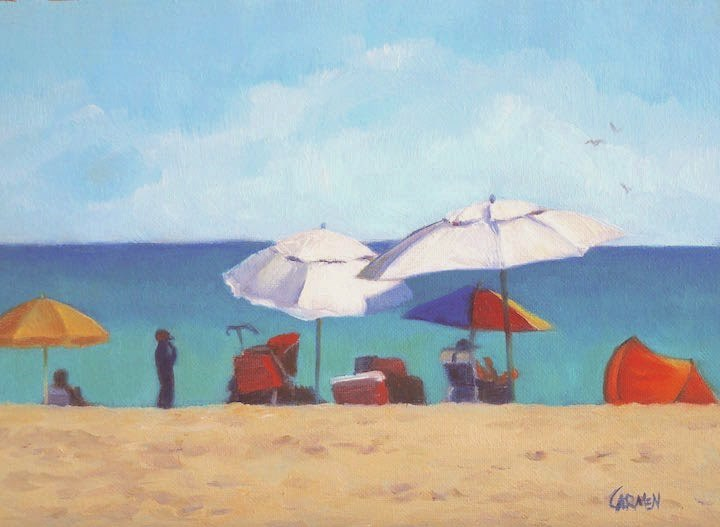 """Sunday at the Beach, 8x6 Oil on Canvas"" original fine art by Carmen Beecher"