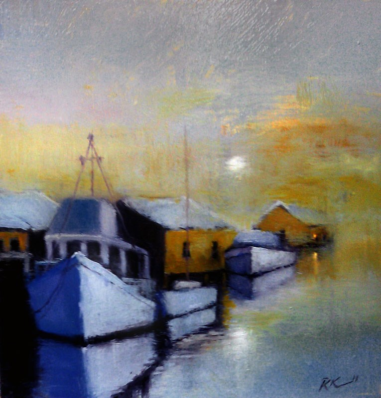 """Early Morning at the Dock"" original fine art by Bob Kimball"