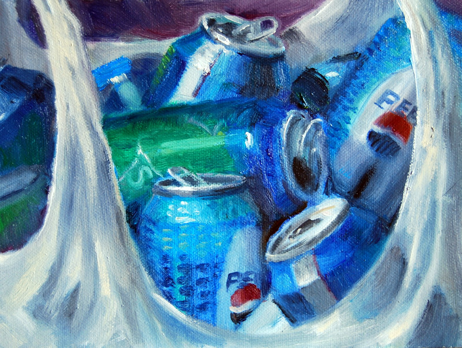 """Off to the Recycle Place"" original fine art by Julie Ford Oliver"