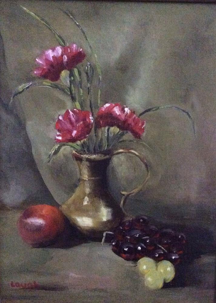 """Carnations in brass vase"" original fine art by Charlotte Lough"