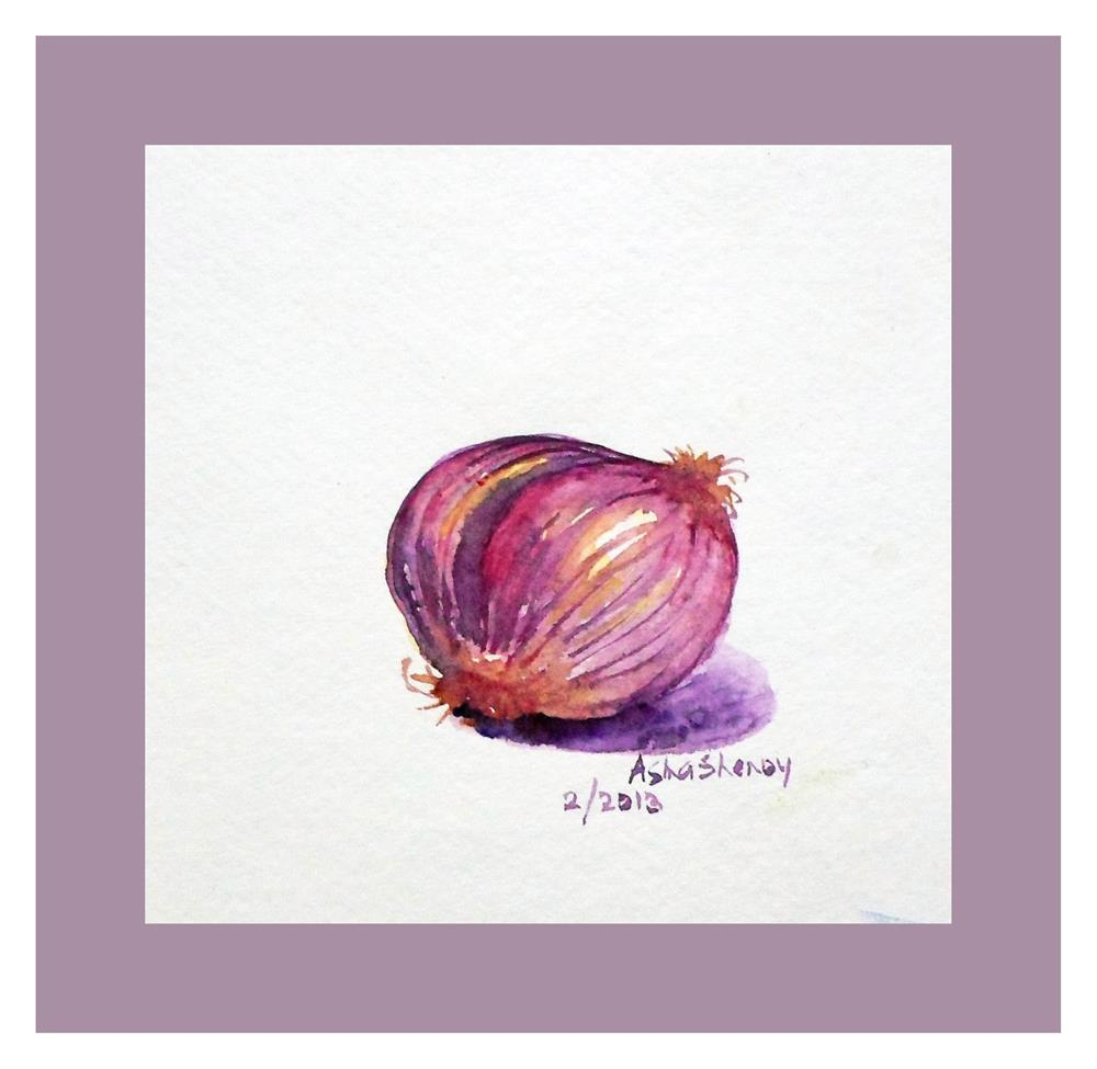 """The little onion"" original fine art by Asha Shenoy S"