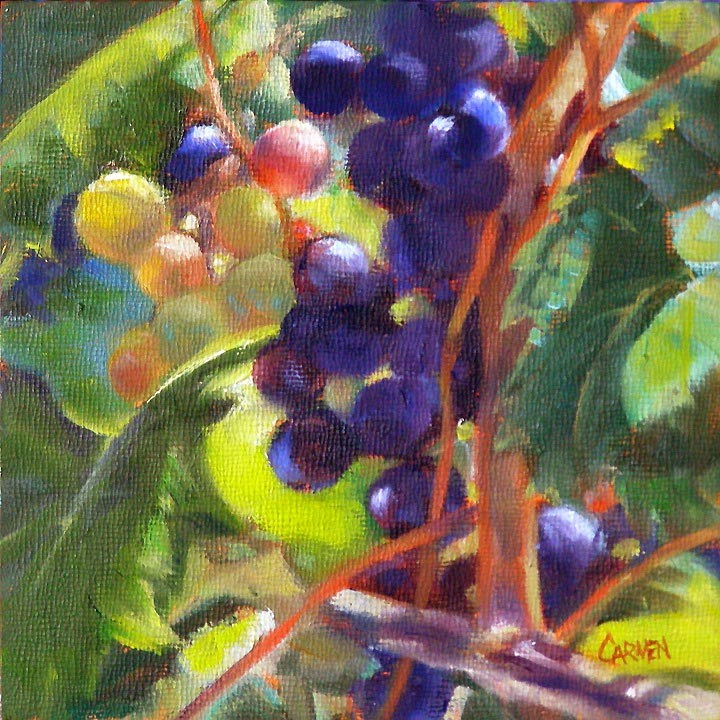 """At the Winery, 6x6"" original fine art by Carmen Beecher"