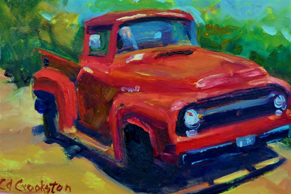 """Red Truck Challenge"" original fine art by Catherine Crookston"