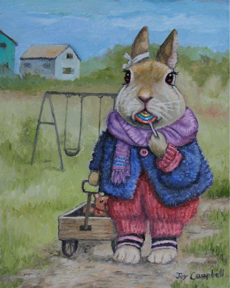 """Bun with a Lollipop"" original fine art by Joy Campbell"