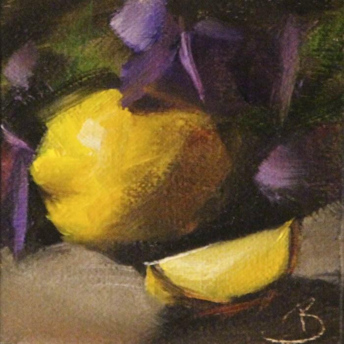 """""""Lemons and Purple Pansies"""" original fine art by Pamela Blaies"""