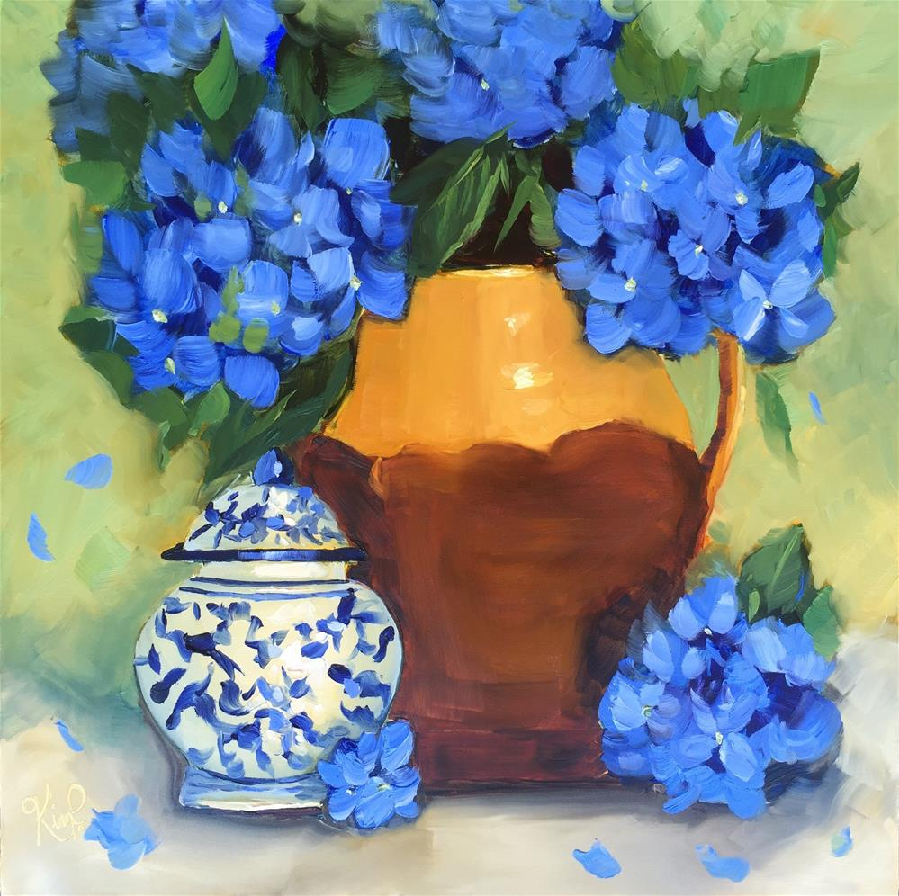 """Still Life with Blue Hydrangeas, Tuscan Urn and Ginger Jar"" original fine art by Kim Peterson"