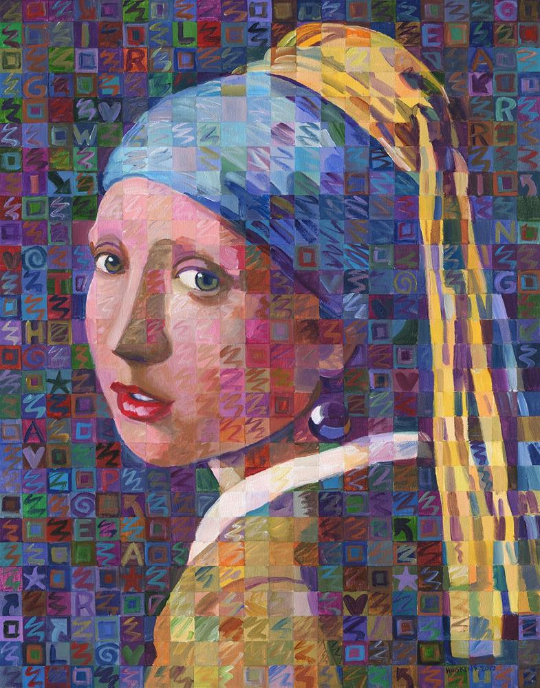 """""""Girl With A Pearl Earring Variation No. 3"""" original fine art by Randal Huiskens"""