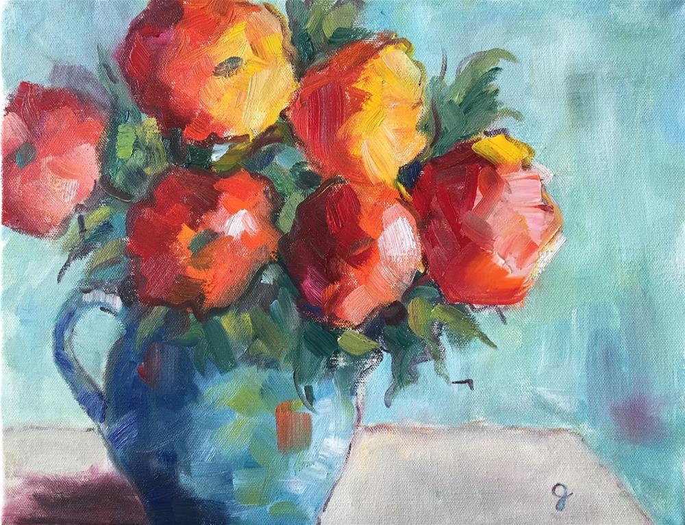 """Poppies on Blue"" original fine art by Gayle Lambeth"