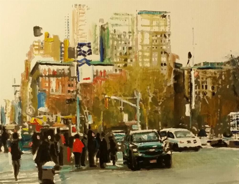 """""""5th Avenue (10.5 x 8.5 oil on canvas paper - no frame)"""" original fine art by Ramon DelRosario"""