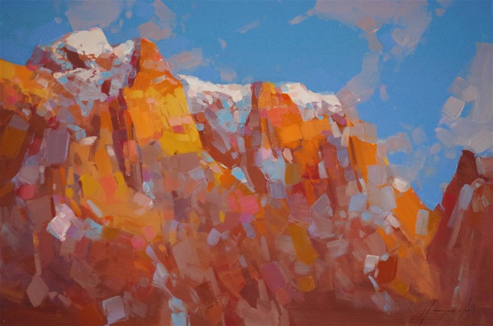 """""""Karakoram Range Landscape oil painting Traditional art"""" original fine art by V Y"""