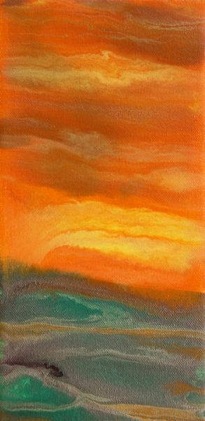 """Abstract Landscape,Sunset Art Painting Sky on Fire Mini #2 by Colorado Contemporary Artist Kimberl"" original fine art by Kimberly Conrad"