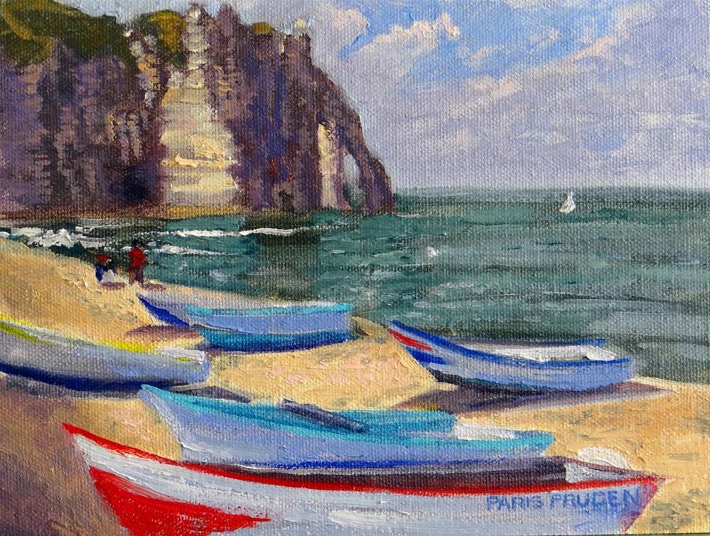 """Etretat, France with Boats"" original fine art by Nancy Paris Pruden"