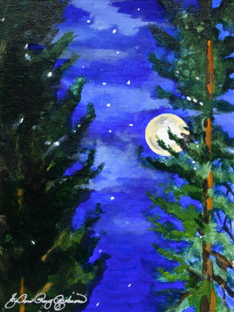 """Full Moon in Taurus"" original fine art by JoAnne Perez Robinson"