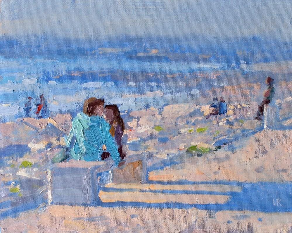 """Evening on the Costa da Caparica Beach"" original fine art by Lena  Rivo"