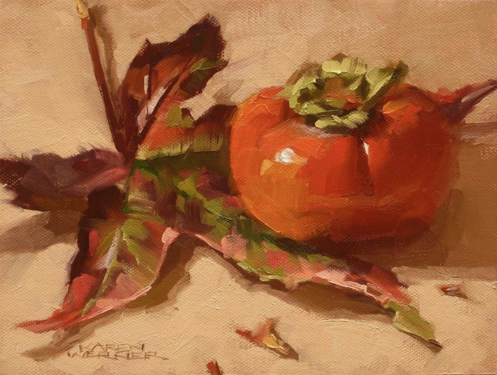 """Leaf & Persimmon"" original fine art by Karen Werner"
