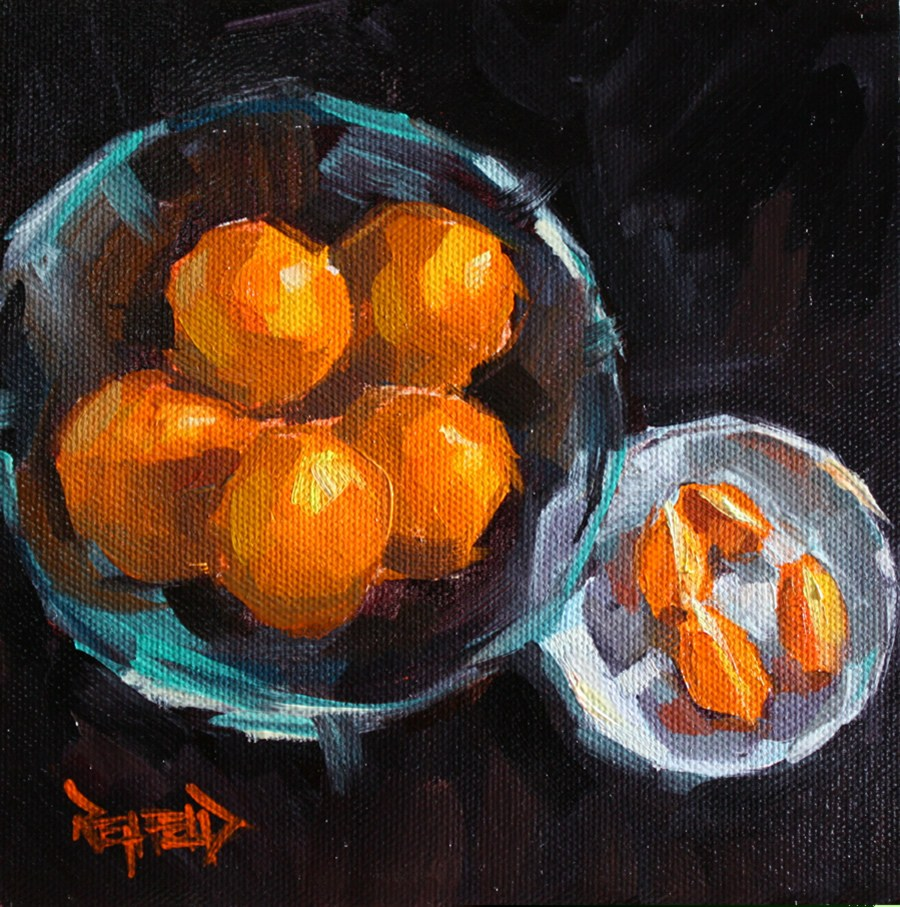 """Oranges On Black"" original fine art by Cathleen Rehfeld"