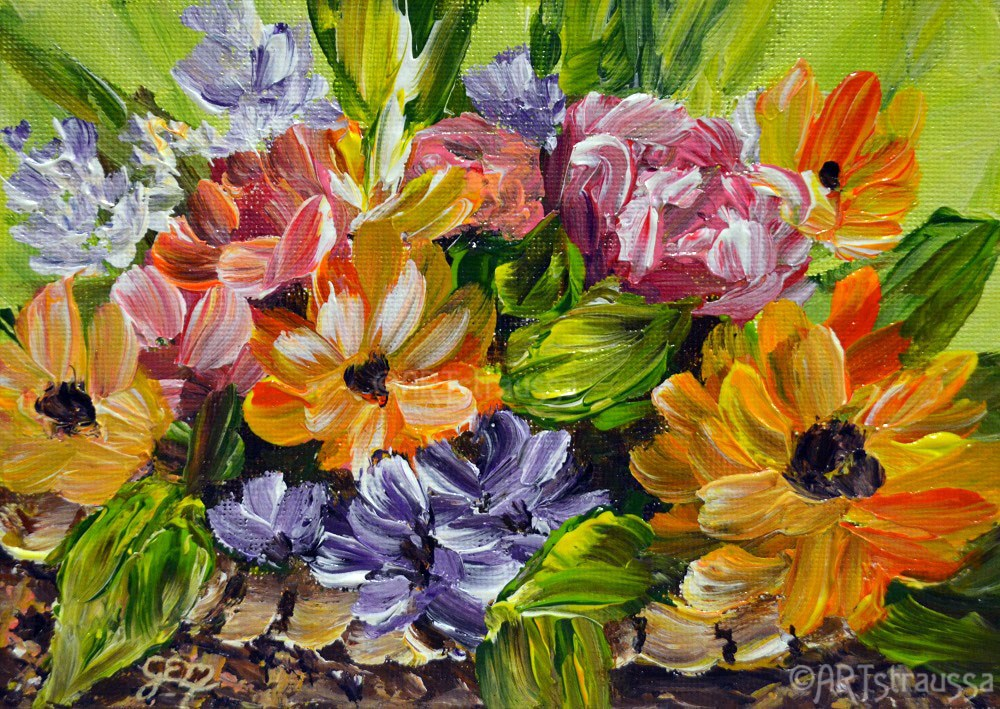 """Basketful Of Spring"" original fine art by Gloria Ester"