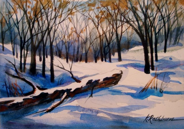 """Winter is Passing Through"" original fine art by Kathy Los-Rathburn"