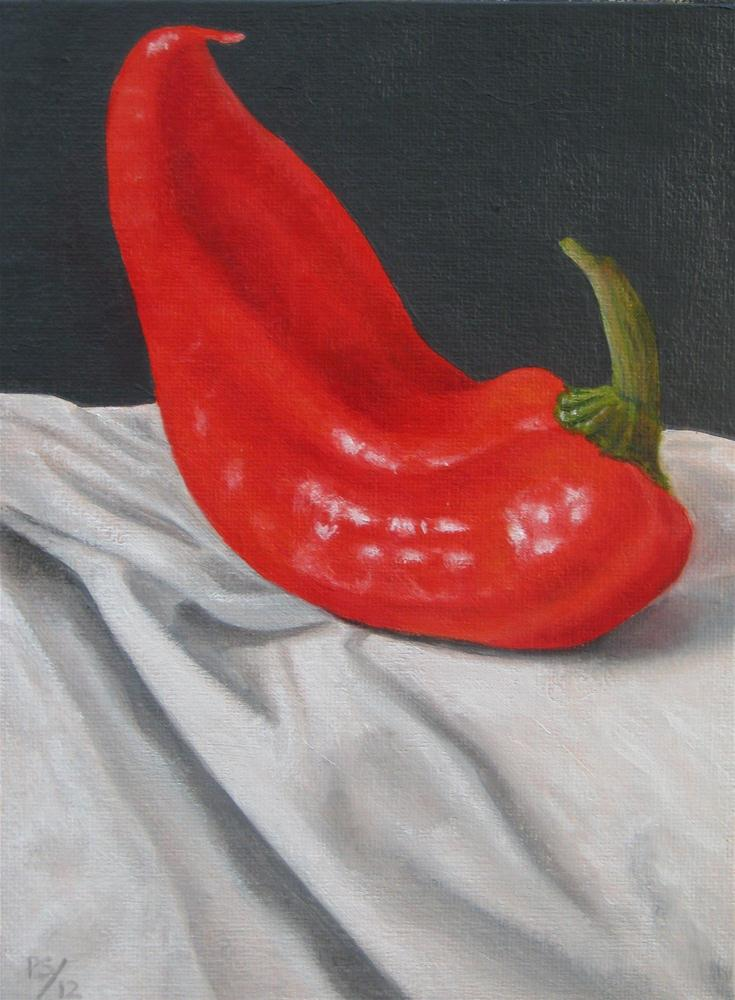 """Red Pepper on Linen"" original fine art by Pera Schillings"