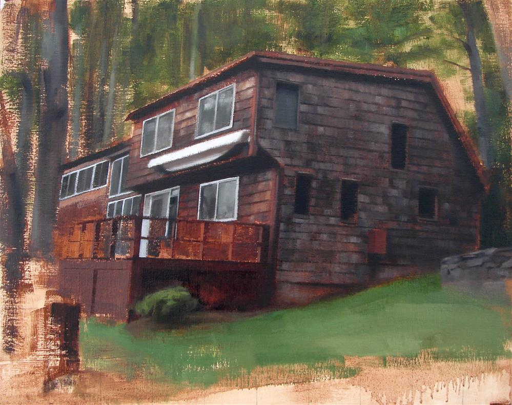 """Commission no.3 (Lagakos Lake House / Lake Monomonoc, NH)"" original fine art by Michael William"