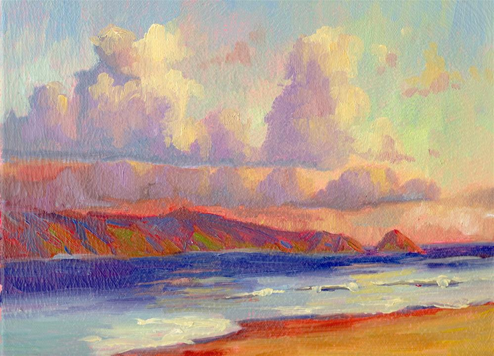"""MOLOKAI MORNING MAROONS"" original fine art by Karen E Lewis"