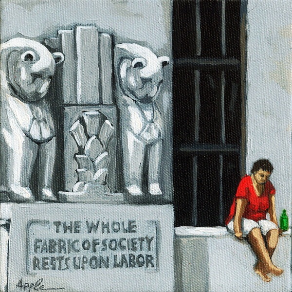 """Labor Building - City Scene - figurative oil painting"" original fine art by Linda Apple"