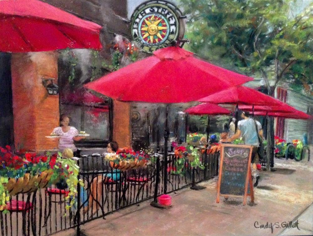 """Hyde Park - Dining On The Patio"" original fine art by Cindy Gillett"