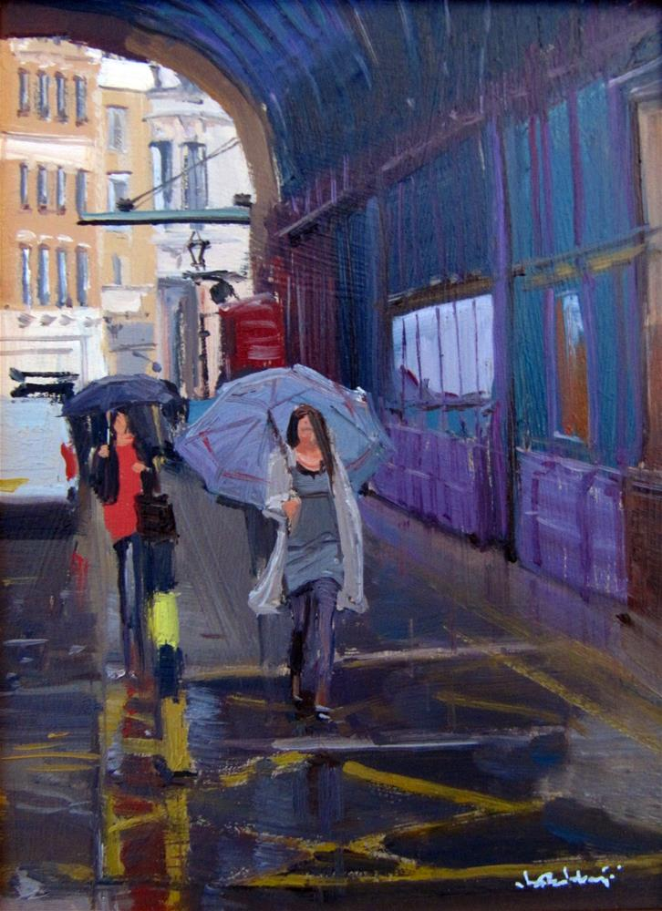 """Rainy day and reflections, London"" original fine art by Adebanji Alade"