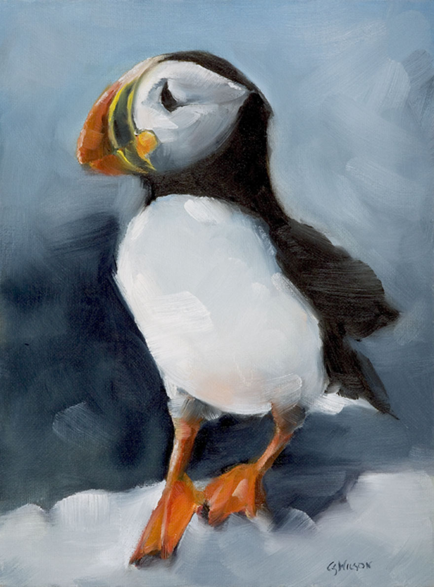 """Little Puffin"" original fine art by Cheryl Wilson"