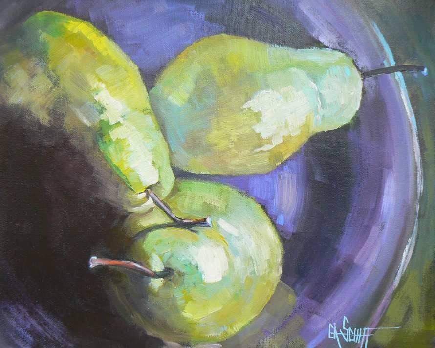 """""""Les Trois Poires"""" original fine art by Carol Schiff"""