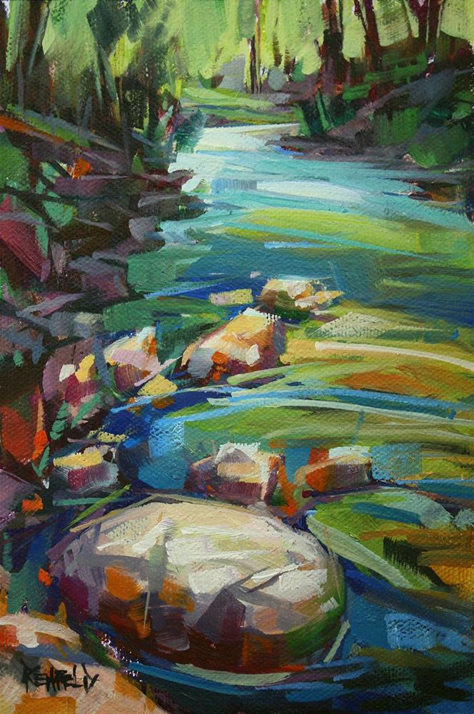 """Light on Wahclella Creek"" original fine art by Cathleen Rehfeld"