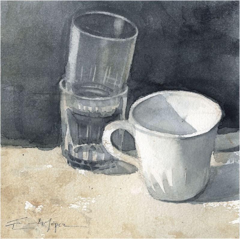 """copas - vidrios 2"" original fine art by Emilio López"