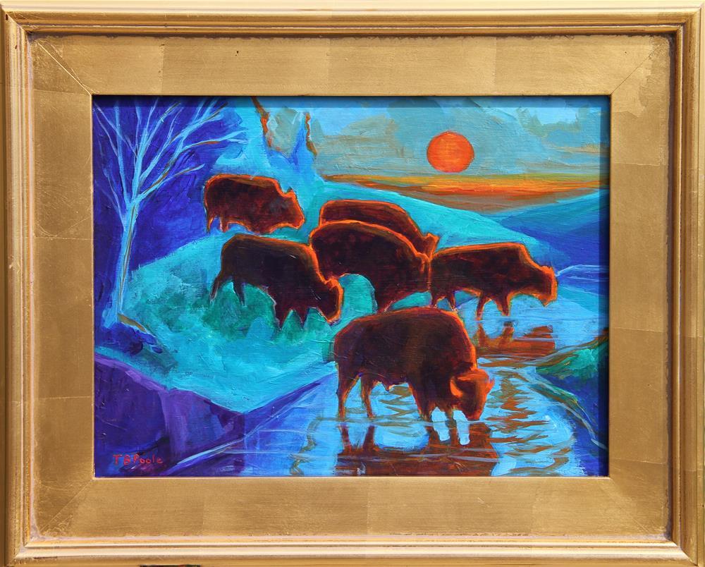 """Western Buffalo Art Six Bison at Sunset framed painting T Bertram Poole"" original fine art by Bertram Poole"