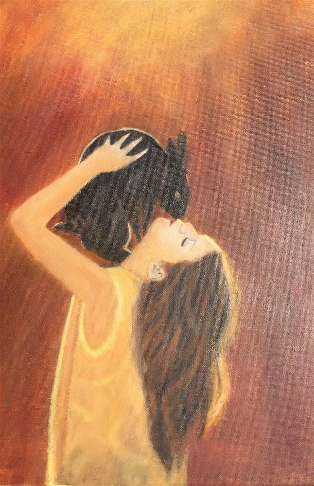 """The Girl with Rabbit"" original fine art by Jiani Shan"