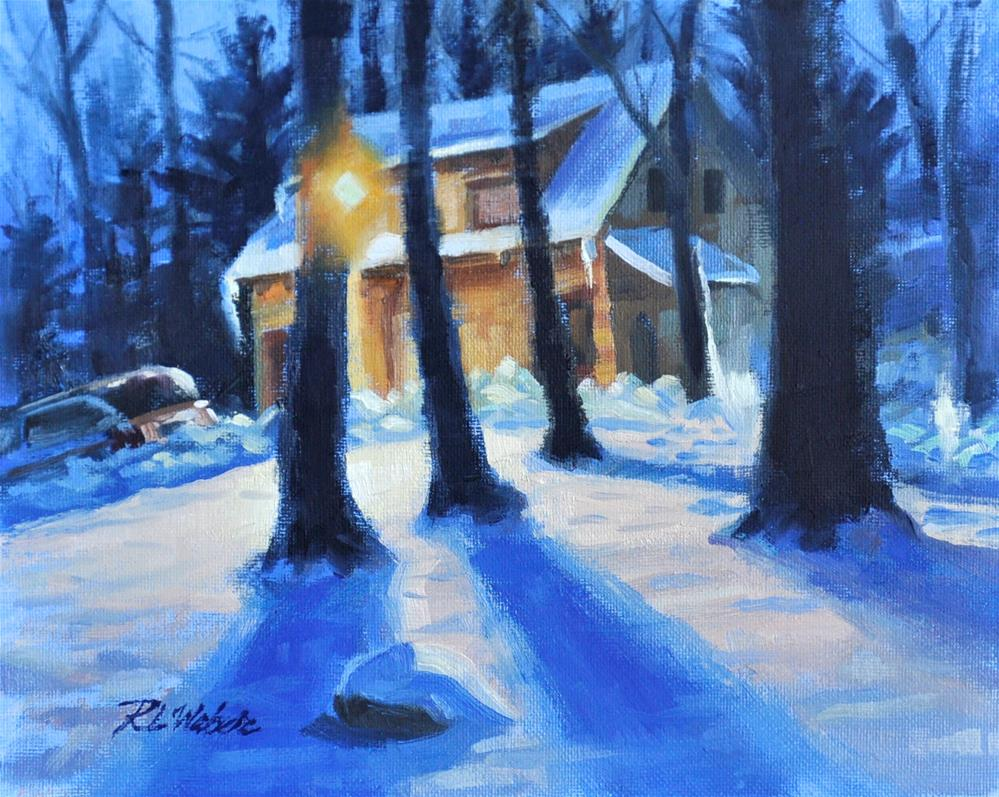 """Christian Reading Center at Night"" original fine art by Rl Weber"