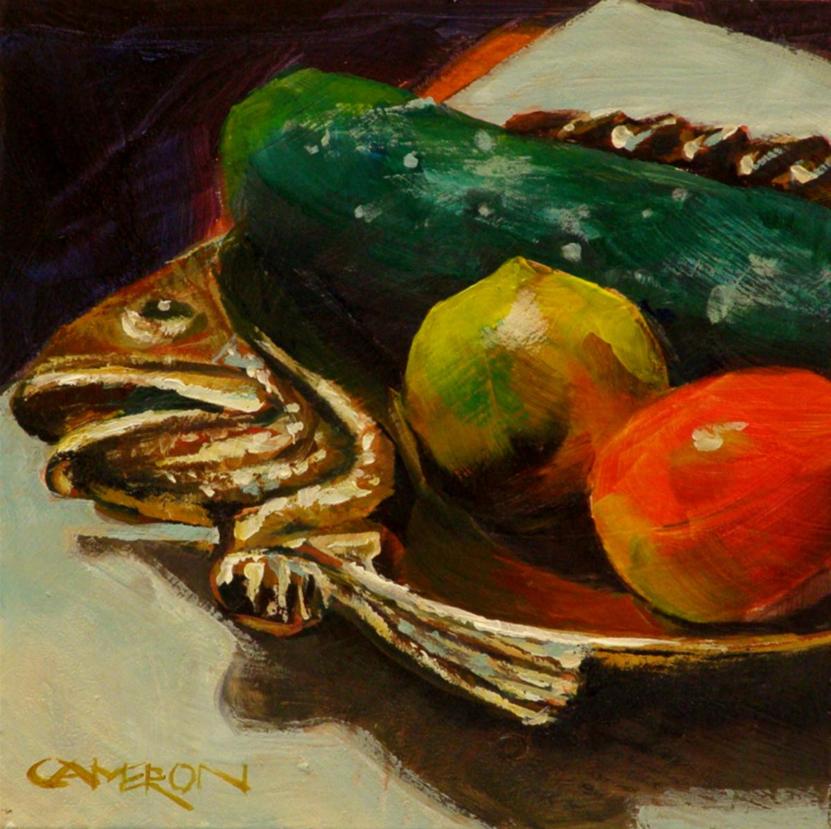 """BRASS FISH WITH VEGGIES"" original fine art by Brian Cameron"