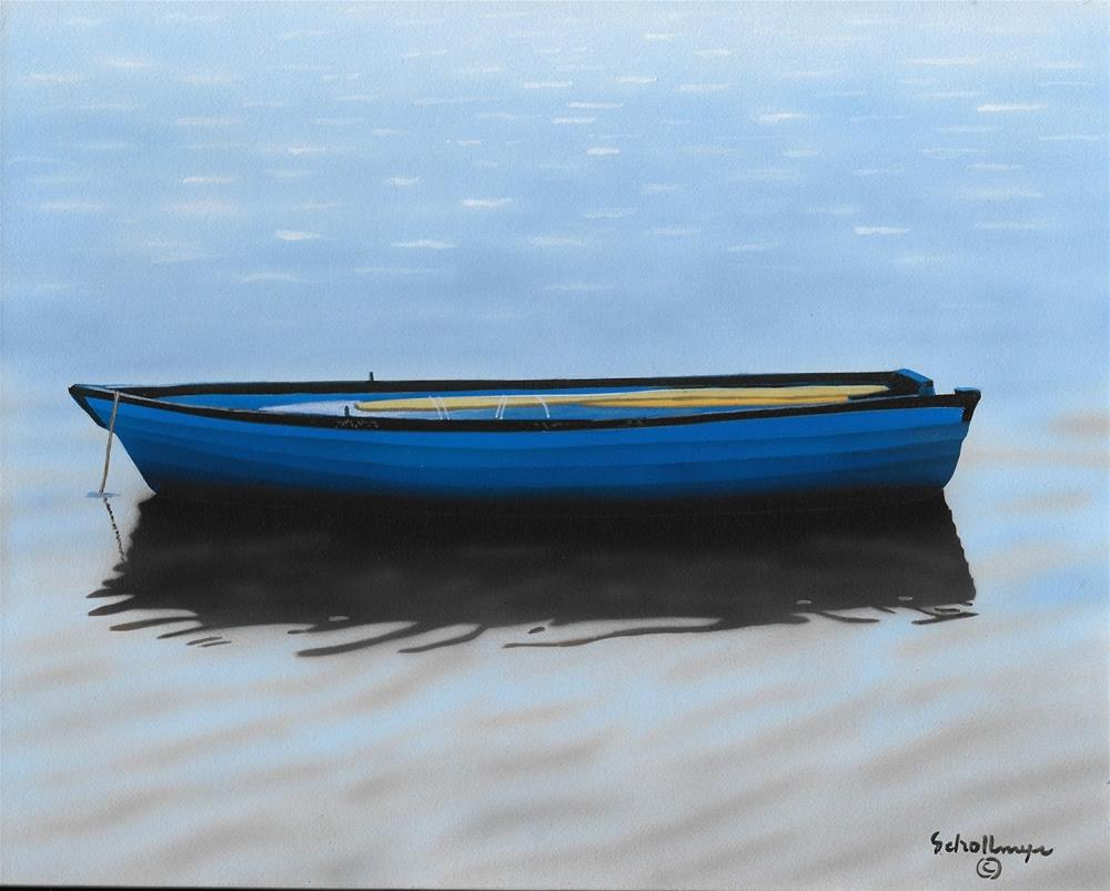 """Waiting Blue Boat"" original fine art by Fred Schollmeyer"