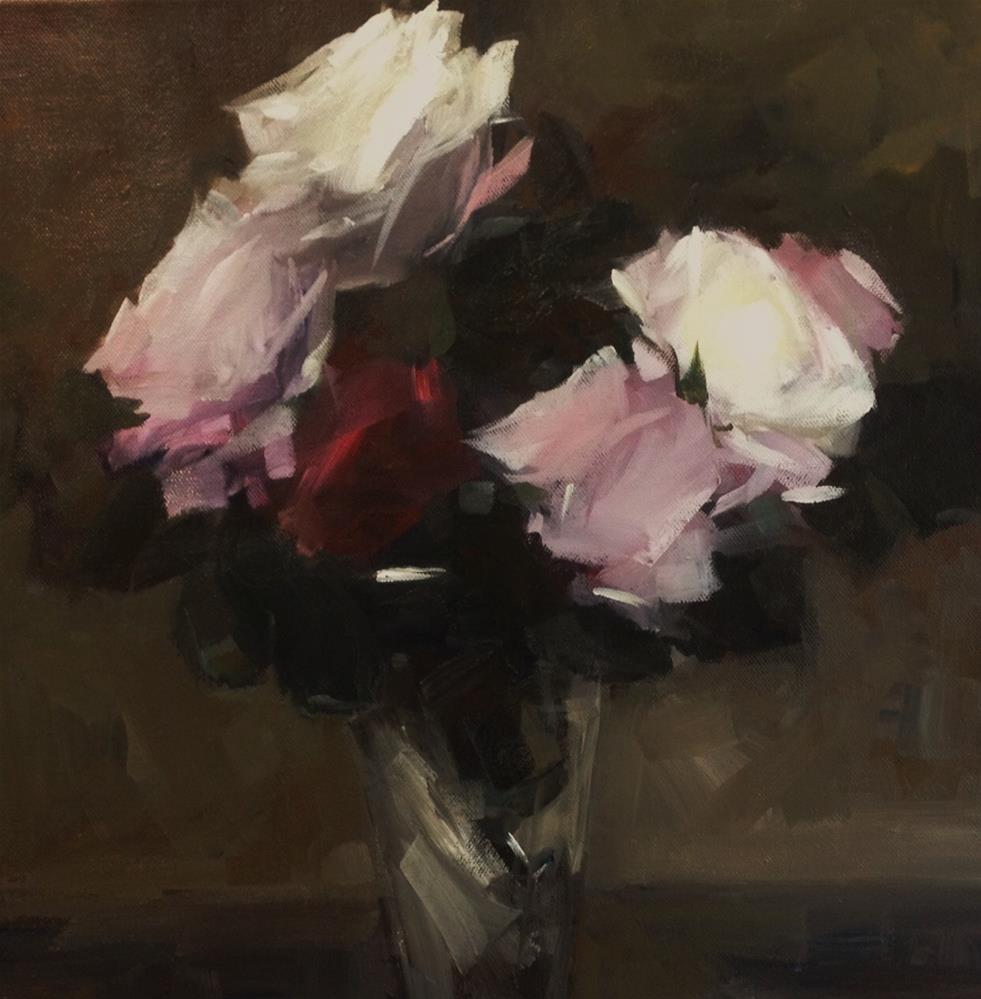 """Red and white roses"" original fine art by Parastoo Ganjei"