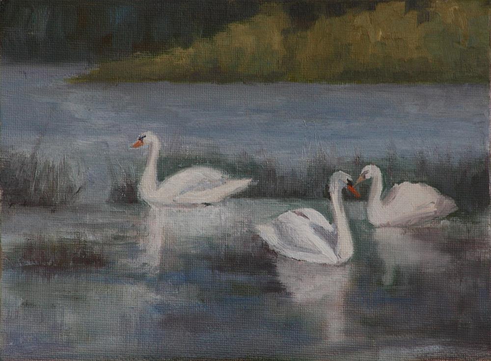 """Trio of Swans"" original fine art by Sheila Marie"