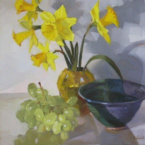 """Daffodils in a Gold Vase floral flower painting still life fruit flowers oil on canvas"" original fine art by Sarah Sedwick"