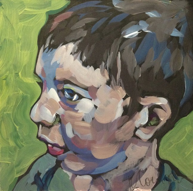 """Max On Green"" original fine art by Kat Corrigan"